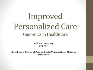 Improved Personalized Care Genomics in HealthCare
