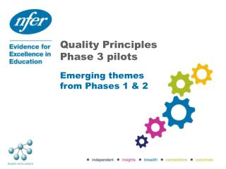 Quality Principles Phase 3 pilots Emerging themes from Phases 1 & 2