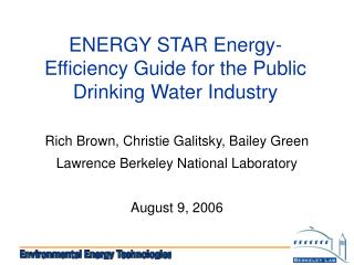 ENERGY STAR Energy-Efficiency Guide for the Public Drinking Water Industry