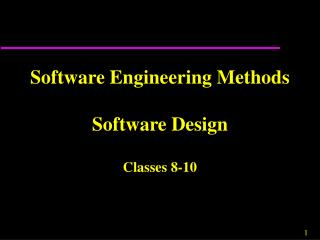 Software Engineering Methods Software Design