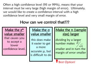 Make the z* value smaller  that causes you to accept a lower confidence level.