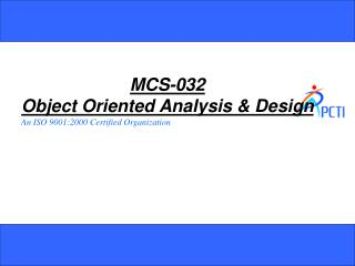 MCS-032 Object Oriented Analysis & Design