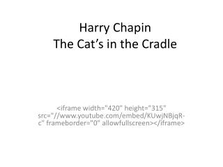 Harry Chapin  The Cat's in the Cradle