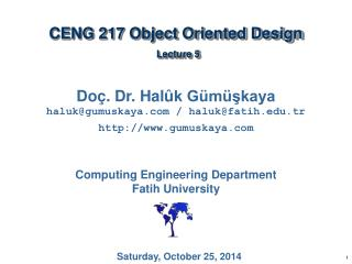 CENG  217 Object Oriented Design Lecture  5