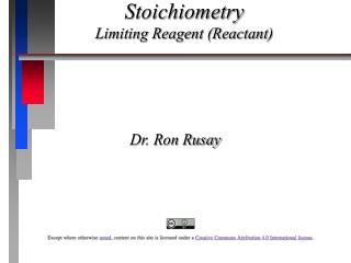 Stoichiometry Limiting Reagent (Reactant)