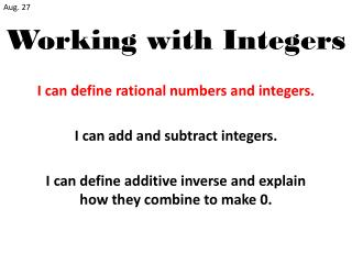 Working with Integers