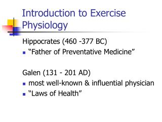 Introduction to Exercise Physiology