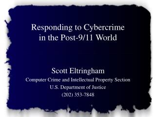 Responding to Cybercrime in the Post-9/11 World