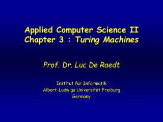 Applied Computer Science II Chapter 3 :  Turing Machines