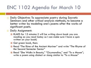 ENC  1102 Agenda for March 10