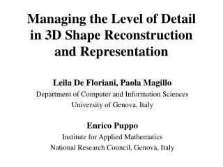 Managing the Level of Detail  in 3D Shape Reconstruction and Representation