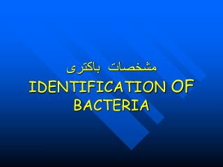 مشخصات  باکتری IDENTIFICATION  OF  BACTERIA