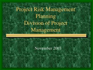 Project Risk Management Planning Division of Project Management