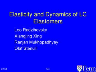 Elasticity and Dynamics of LC Elastomers