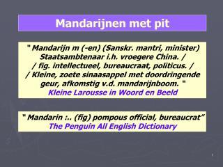 """"""" Mandarijn m (-en) ( Sanskr . mantri, minister) Staatsambtenaar  i.h . vroegere China. / / fig. intellectueel, bureaucr"""