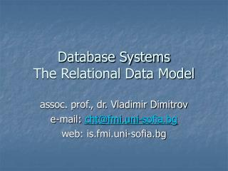 Database Systems The Relational Data Model