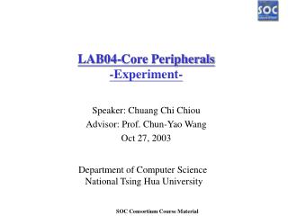 LAB04-Core Peripherals -Experiment-