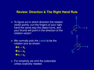 Review: Direction & The Right Hand Rule