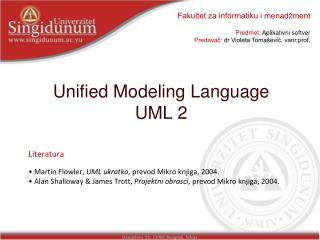 Unified Modeling Language  UML  2