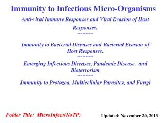 Immunity to Infectious Micro-Organisms