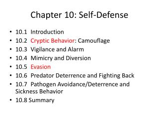 Chapter 10: Self-Defense