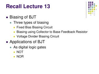 Recall Lecture 13