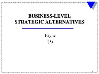 BUSINESS-LEVEL STRATEGIC ALTERNATIVES
