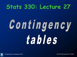 Stats 330: Lecture 27