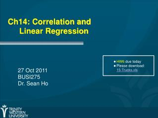 Ch14: Correlation and 	Linear Regression