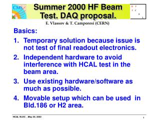 Summer 2000 HF Beam Test. DAQ proposal.