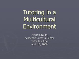 Tutoring in a Multicultural Environment
