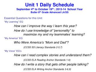 "Essential Questions for this Unit: ""My Learning"" EQ 	How can I improve the way I learn this year?"