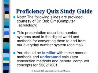 Proficiency Quiz Study Guide