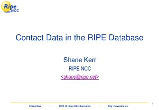 Contact Data in the RIPE Database