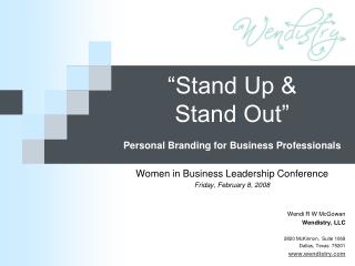 """Stand Up &  Stand Out"" Personal Branding for Business Professionals"