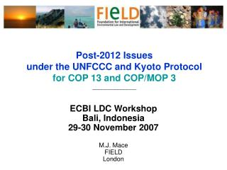Post-2012 Issues  under the UNFCCC and Kyoto Protocol for COP 13 and COP/MOP 3 ______________