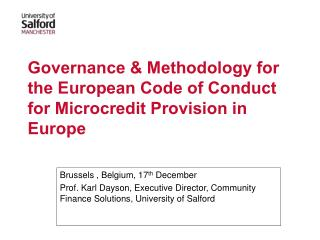 Governance & Methodology for the European Code of Conduct for Microcredit Provision in Europe