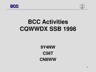 BCC Activities  CQWWDX SSB 1998