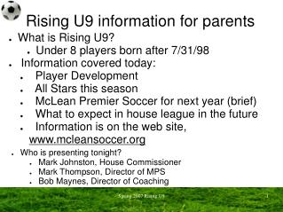 Rising U9 information for parents