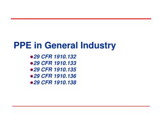 PPE in General Industry