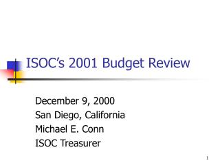 ISOC's 2001 Budget Review