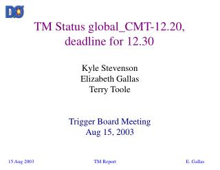 TM Status global_CMT-12.20, deadline for 12.30