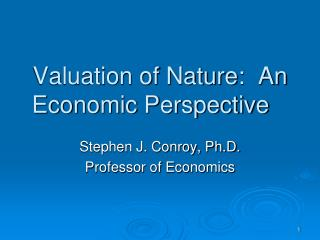 Valuation of Nature:  An Economic Perspective