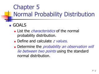 Chapter 5 Normal Probability Distribution