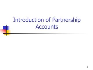 Introduction of Partnership Accounts