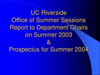 Summer Sessions 2003