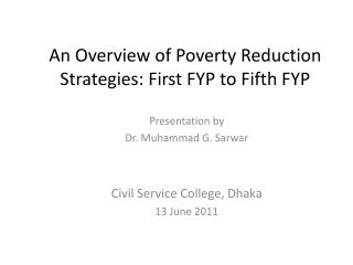 An Overview of Poverty Reduction Strategies: First FYP to Fifth FYP