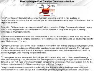 New Hydrogen Fuel Catalyst Commercialization