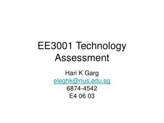 EE3001 Technology Assessment