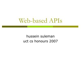 Web-based APIs